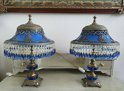 Vintage Crystal and Gold Table Lamp Pair Blue  Stunning