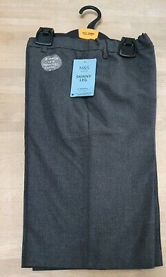 New Boys School Skinny Fit Flat Front 2 Pack Grey Shorts Size 10-11 Years M+S