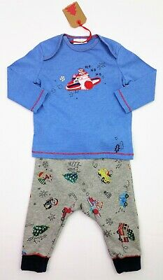 NEXT Baby Boys 2 Pc CHRISTMAS Santa Outfit LS Top & Joggers 0-3/3-6 Months BNWT