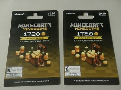 Mine Craft Gift Cards Game Currency TWO $10.00 each