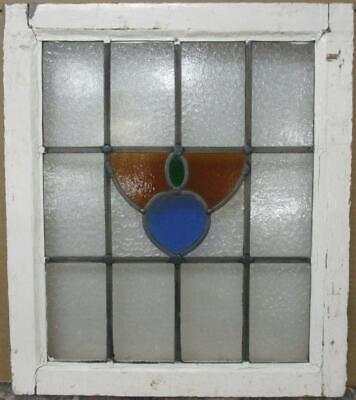 "OLD ENGLISH LEADED STAINED GLASS WINDOW Pretty Abstract Design 19.25"" x 22"""