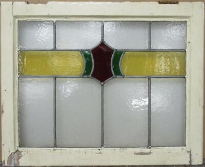 "MIDSIZE OLD ENGLISH LEADED STAINED GLASS WINDOW Geometric Band 26.5"" x 21.5"""