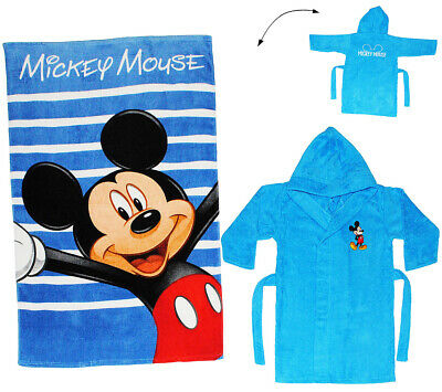 "2 tlg. Set _ Badetuch & Frottee Bademantel - "" Disney Mickey Mouse "" - 2 bis 8 J"