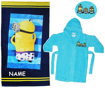 "2 tlg. Set _ Strandtuch & Frottee Bademantel - "" Minions "" - incl. Name - 2 bis"