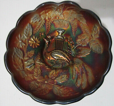 Antique Northwood Carnival Glass Bowl Peacock Urn with Marigold Flowers