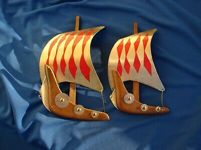 VTG VIKING Ship BOAT Brass Tin WOOD Mid CENTURY Wall Hanging DECOR Pair JAPAN