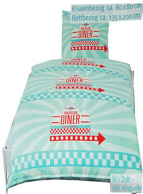 """2 PC Set _ Bed Linen - """" American Dinner - Almost Food """" - 135 x 200 cm & 80 X"""