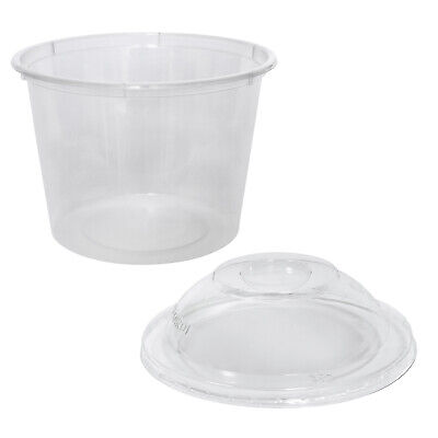 500x Clear Plastic Container with Dome Lid 790mL Round Disposable Rice Dish