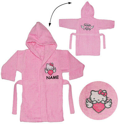 "Frottee Bademantel - "" Hello Kitty "" - incl. Name - 2 bis 8 Jahre / Gr. 92 - 140"