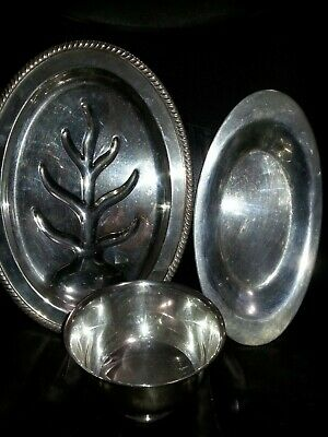 Vintage Silver Plate Lot. Webster Wilcox,  Oneida. 3 Pieces.  Paul Revere,  Leaf