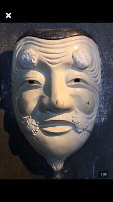 Noh Mask Weng Noodle Wood Carving Good Condition