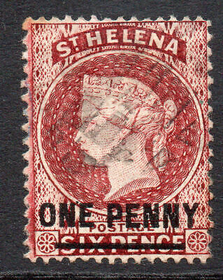 St Helena 1 Penny Stamp c1876 Used SG21