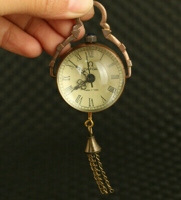 Asian old glass copper Mechanical Movement pocket watch pendant collectable gift
