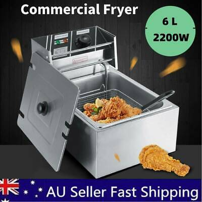 6L Commercial Electric Deep Fryer Countertop Basket Fat Chip Stainless Steel
