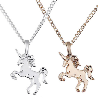 Unicorn Pendant Necklace Chain Kids Girls Jewelry Party Gifts Silver / Gold