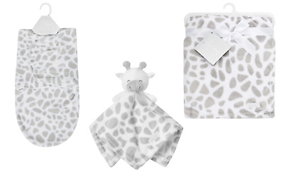 Baby Gift Set or Single Neutral Giraffe Comforter Toy Blanket  & Swaddle Wrap