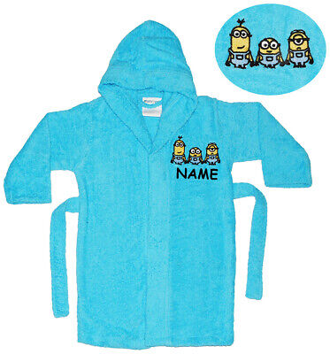 "Frottee Bademantel - "" Minions "" - incl. Name - 2 bis 11 Jahre / Gr. 92 - 146 -"