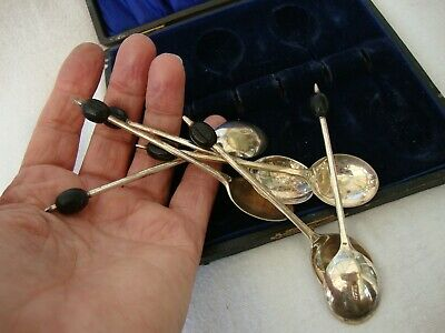 Antique Cased Box Set Of Six Silver Plated Epns Coffee Spoons Black Bean Finial