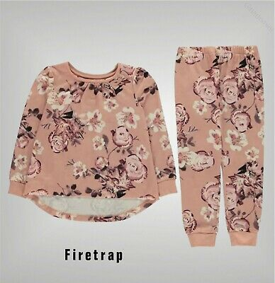 Girls Firetrap Crew Ribbed Floral Print Pyjama Set Sizes Age from 2 to 7 Yrs