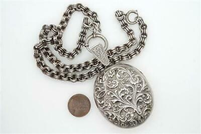 ANTIQUE ENGLISH VICTORIAN SILVER LARGE LOCKET & CHAIN NECKLACE c1880