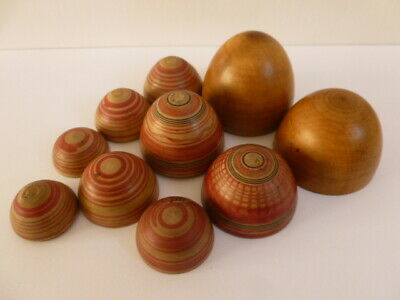 Antique treen five stacking wood wooden hand painted hand turned eggs