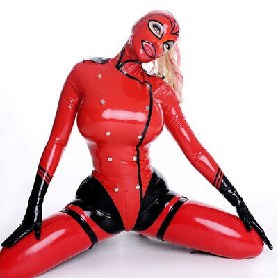 Latex Overall Catsuit Bodysuit 100% Rubber Hooded Red Button Crotch Zipper S-XXL