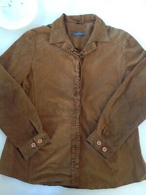 unusual mens vintage 60s brown leather ruffle shirt size44