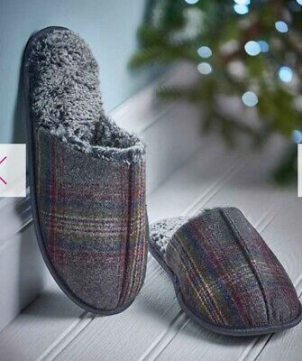 Avon Men's Grey Checked Slippers. Super Comfy, Cosy, Stylish, Fluffy Insole