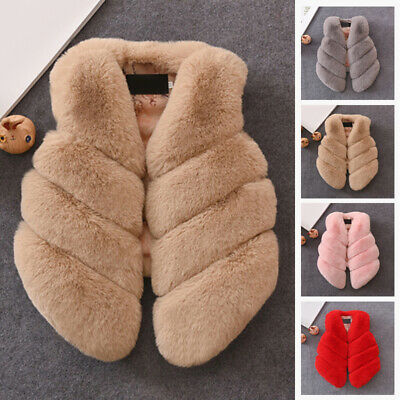 Cute Kids Girls Faux Fur Winter Waistcoat Vest Gilet Children Warm Coat Outwear