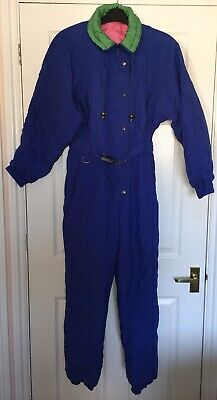 "Vintage 1980s St Michael Marks & Spencer Ski Suit/Snow Suit 80s 34"" Bust Blue"