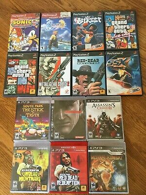 Lot of 14 PS2 & PS3 Games: Red Dead Redemption+South Park+GTA+Sonic+More bundle