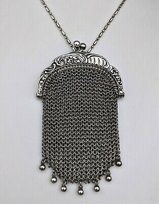 Antique Art Nouveau French Sterling Silver Chain Mail Mesh Chatelaine Coin Purse