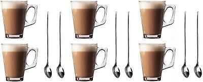 6Pcs of 240ML Hot Cold Drinks Latte Cappuccino Glass Mugs Coffee Cup Free Spoons