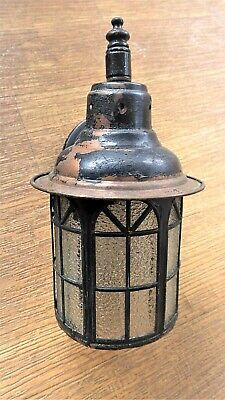 1900s Antique Copper Wall Light Arts & Crafts Outdoor Porch Lamp Arch Fan Panels