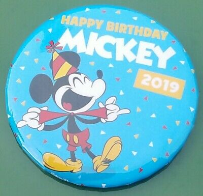 Happy Birthday Mickey Mouse 2019 Disney Parks Exclusive Button In-Hand Ship Fast