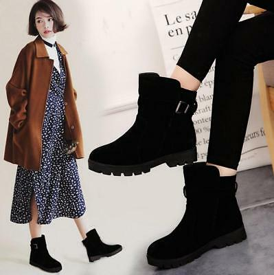 Womens Girls Fashion Ankle Boots Fur Lined Warm British Business Flats Shoes