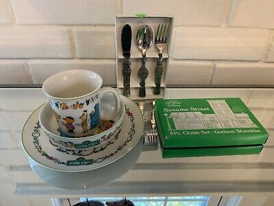 Sesame Street Muppets Gorham Stainless Flatware & Fine China Set 1976 Japan