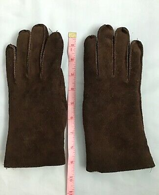 Vintage dark brown sheepskin gloves Retro 1980s length 9.5 inches, palm 4 inches
