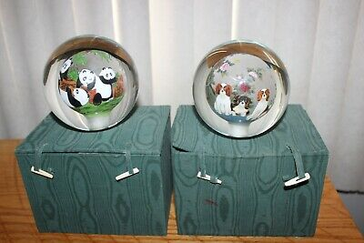 CHINESE REVERSE PANDA PAINTED GLASS BALL with FABRIC BOX ORB.. PAPERWEIGHT