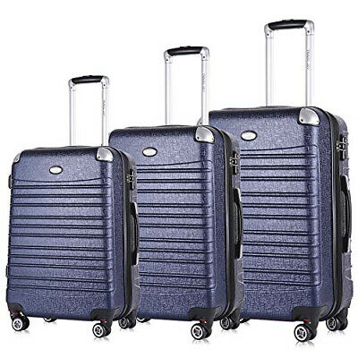 Hard Side Expandable Suitcases Lightweight 3 Pieces Luggage Set Navy Blue