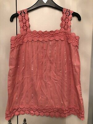 Gorgeous River Island Girls Cami Top Coral Pink With Shimmer Detail Age 12