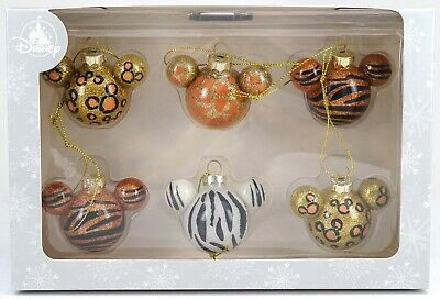 New Disney Parks Animal Print Mickey Mouse Icon Glass Holiday Ornament 6 Pack