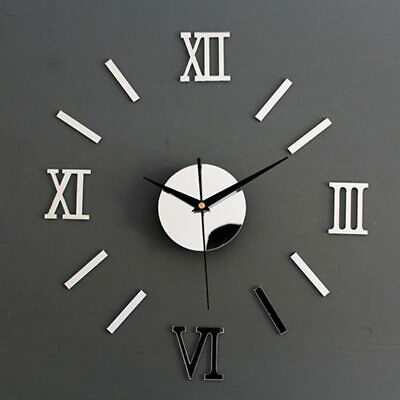 DIY Roman Numerals Frameless Large Acrylic Mirror Surface 3D Wall Clock