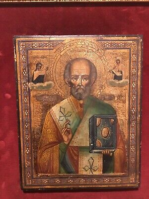 Antique Russian icon 19 th saint nicholas