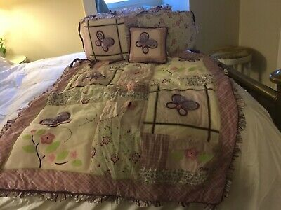 CoCaLo Sugar Plum Purple Flowers Butterfly Bows Crib Set! Quilt, Bumpers, Pillow