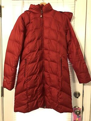 Eddie Bauer Lodge Down Parka M Womens Red Fur Hooded Jacket