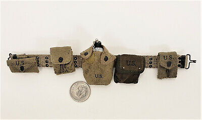 DID Sam WWII 77th division weathered web belt pouches n canteen 1//6 toys GI bbi