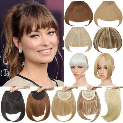 Thick Thin Neat Bangs Natural Fringe Fake Hair Extension Clip In Front Hairpiece
