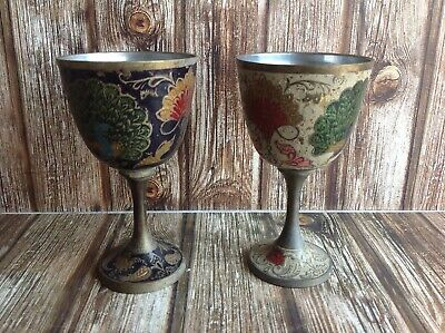 VINTAGE CUPS GOBLETS- MADE in INDIA - COLORFUL PEACOCK DESIGN - COLLECTORS