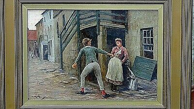 ANTIQUE 19c GERMAN ORIGINAL OIL ON BOARD YOUNG MAN& WOMAN ROMANTIC SCENE,SIGNED.